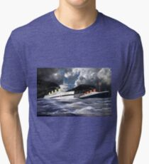 RMS Titanic and her sister the HMHS Britannic Tri-blend T-Shirt