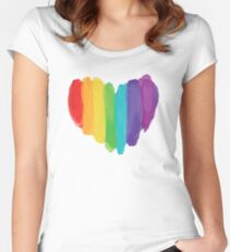 LGBTQ Watercolor Love Heart Fitted Scoop T-Shirt