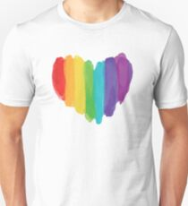 Camiseta ajustada LGBTQ Watercolor Love Heart