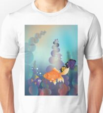Abstract cartoon colorful underwater background with gold fish Unisex T-Shirt