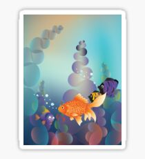 Abstract cartoon colorful underwater background with gold fish Sticker