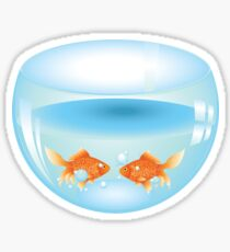 Gold fish swimming in the water in a fishbowl Sticker