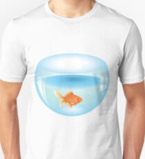 Gold fish swimming in the water in a fishbowl 2 Unisex T-Shirt