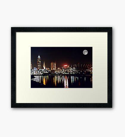 Cleveland night Framed Print