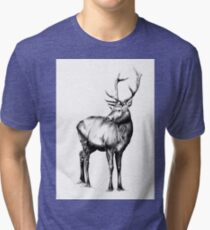 Antique stag art drawing handmade nature 03 Tri-blend T-Shirt