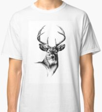 Antique stag art drawing handmade nature 04 Classic T-Shirt