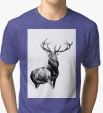 Antique stag art drawing handmade nature 05 Tri-blend T-Shirt