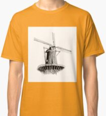 Windmill old retro vintage drawing 01 Classic T-Shirt