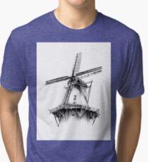 Windmill old retro vintage drawing 02 Tri-blend T-Shirt