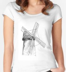 Windmill old retro vintage drawing 05 Women's Fitted Scoop T-Shirt
