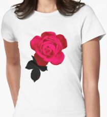 Big Beautiful Pink Rose Womens Fitted T-Shirt
