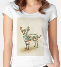 Chihuahua Typographic Watercolor Painting Women's Fitted Scoop T-Shirt