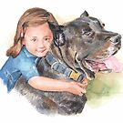 girl hugging her dog watercolor by Mike Theuer