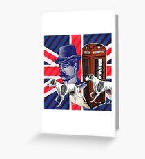 vintage mustache men british hunt dog Union jack Greeting Card