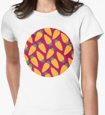 Carrotty Carrots Pattern | Purple Womens Fitted T-Shirt