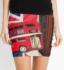 union jack london bus vintage red telephone booth Mini Skirt