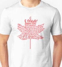 O Canada Hand-lettered National Anthem in Red Unisex T-Shirt