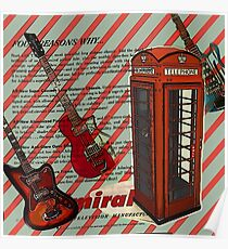 modern british rock music london telephone retro guitar  Poster
