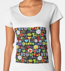 #110, ANIMAL, Cartoon Art, I Love Cats Women's Premium T-Shirt