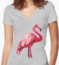 Sequin Printed Tropical Flamingo Bird Women's Fitted V-Neck T-Shirt
