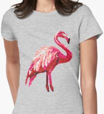 Sequin Printed Tropical Flamingo Bird Womens Fitted T-Shirt