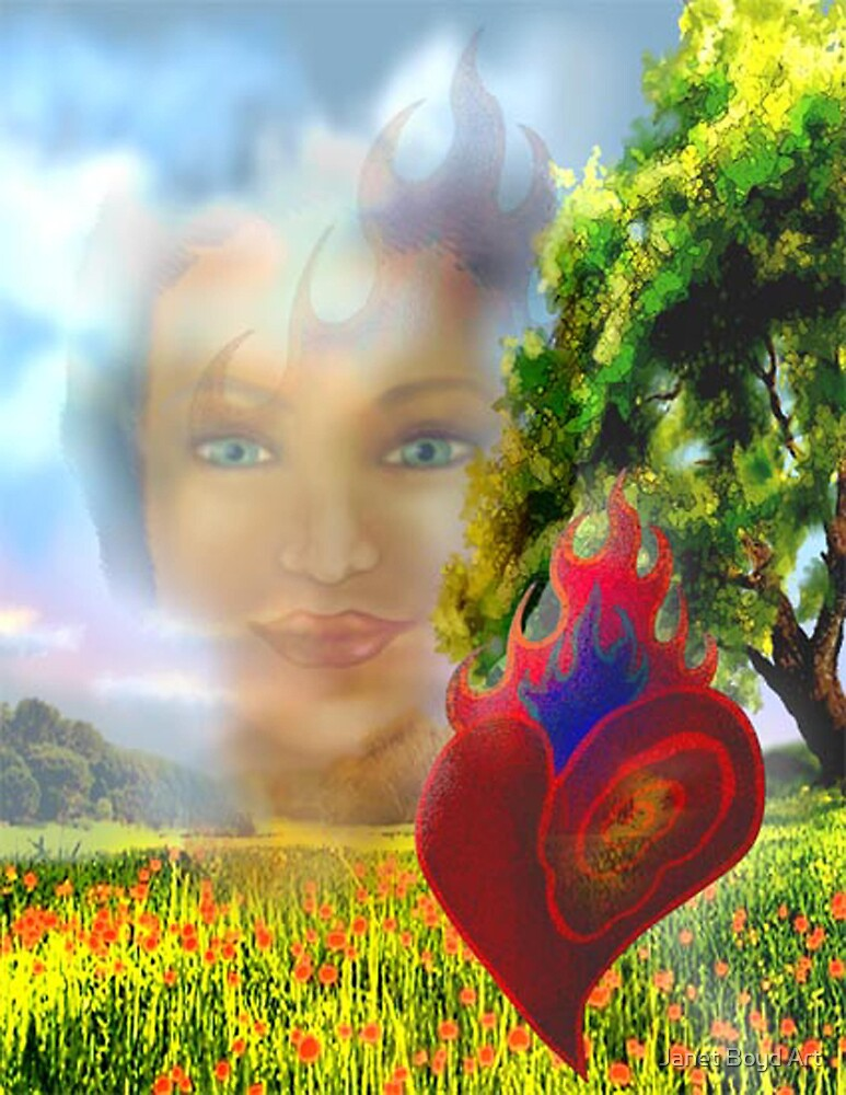 Flaming Heart,  Intense Eyes by Janet Boyd Art