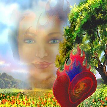 Flaming Heart,  Intense Eyes by jboyd