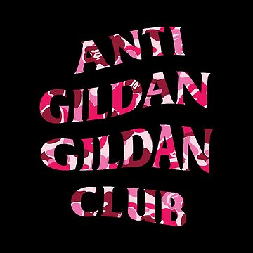 Anti Gildan Gildan Club | Black T-shirt with Bape Pink | Back Print by Street-King