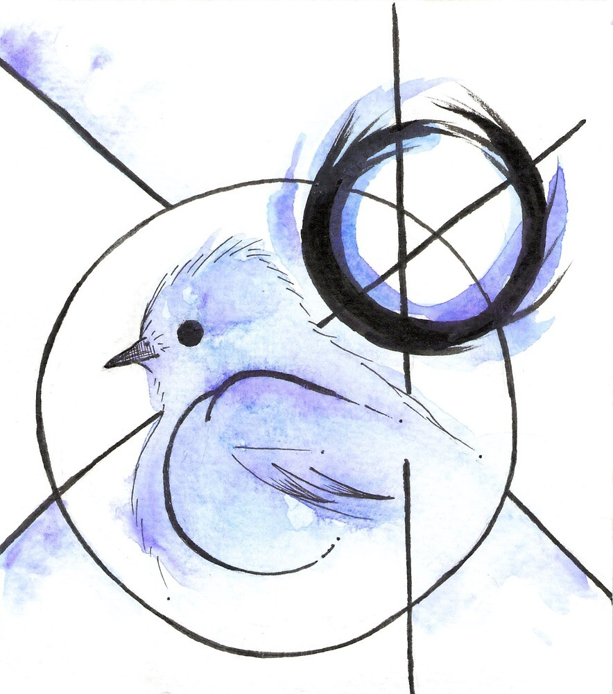 Blue Bird Pen Watercolor By Meridianginn Redbubble