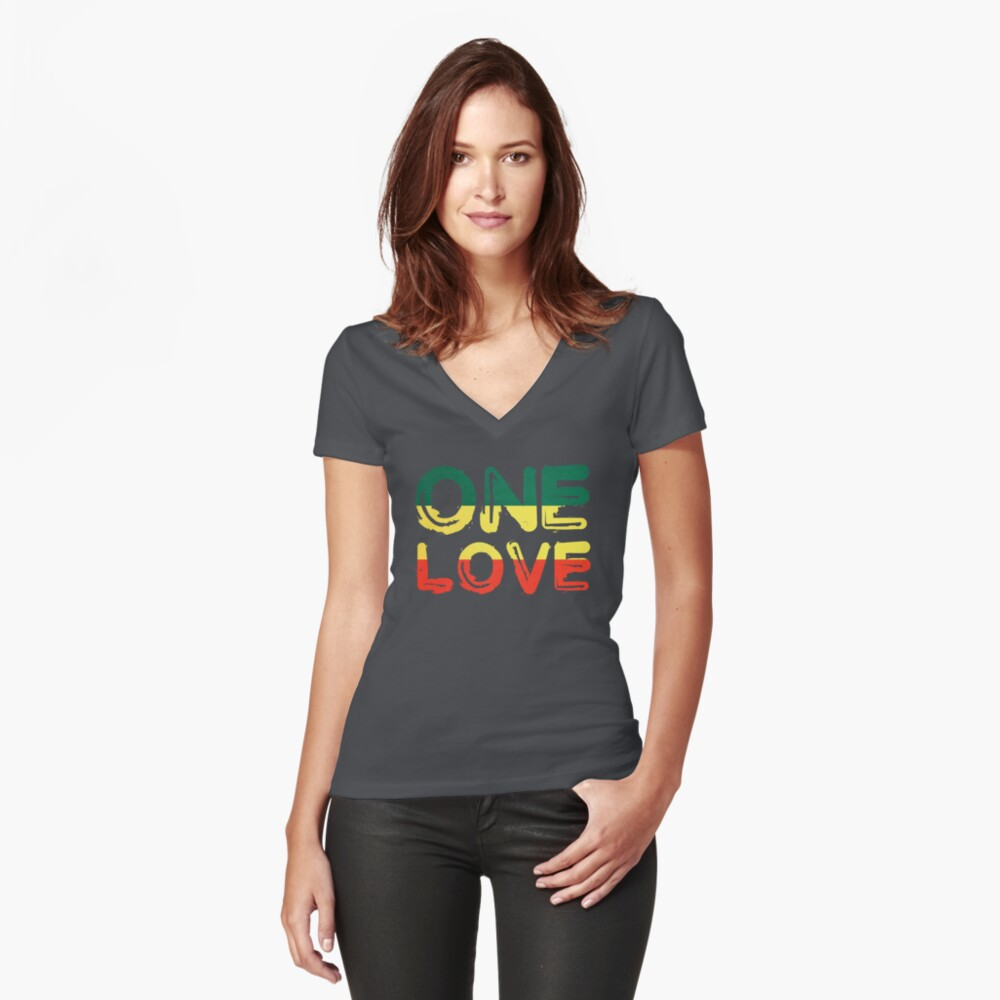 One Love Reggae Peace Weed Rasta Chill Stoner Quote Fitted V-Neck T-Shirt