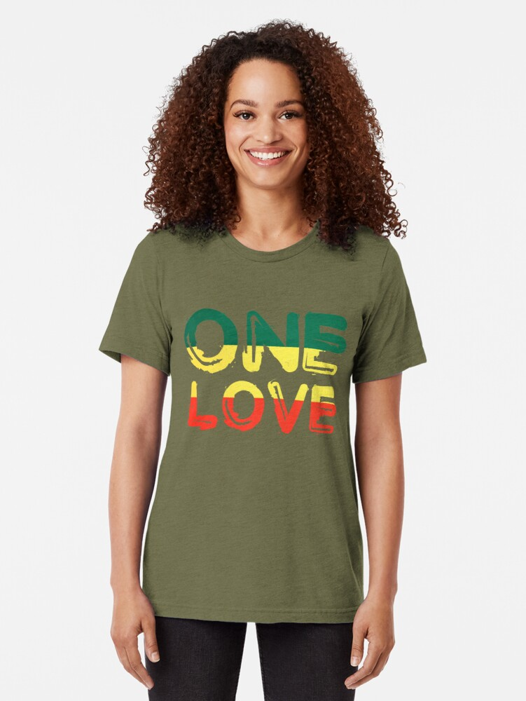 Alternate view of One Love Reggae Peace Weed Rasta Chill Stoner Quote Tri-blend T-Shirt