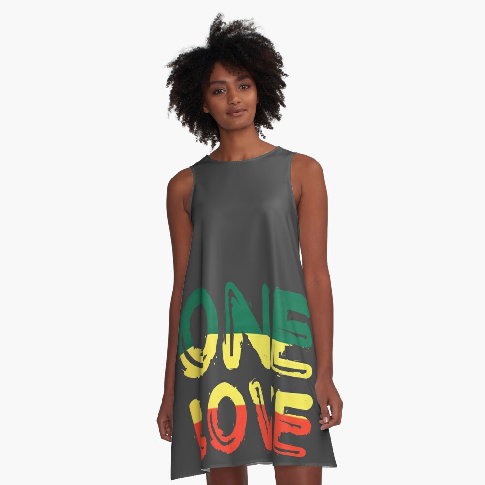 One Love Reggae Peace Weed Rasta Chill Stoner Quote A-Line Dress