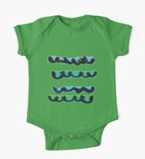 Abstract Waves in Horizontal Lines One Piece - Short Sleeve