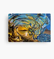 Crashing Wave Sunset Painting - Hawaiian Gold II Metal Print
