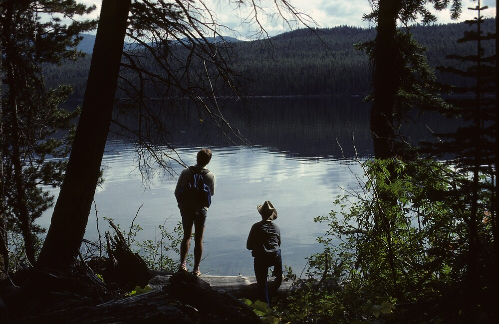 Two Hikers at Montana's Angel Lake by bertspix