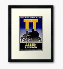 TT ASSEN: Vintage Cycle Racing Advertising Print Framed Print