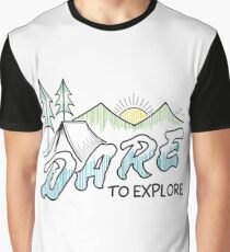 Hiking Camping Wanderlust Mountains Design: Dare To Explore Graphic T-Shirt