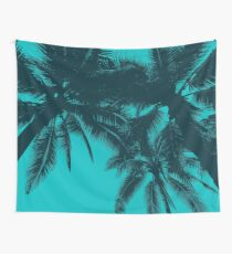 Palms in summer, blue Wall Tapestry