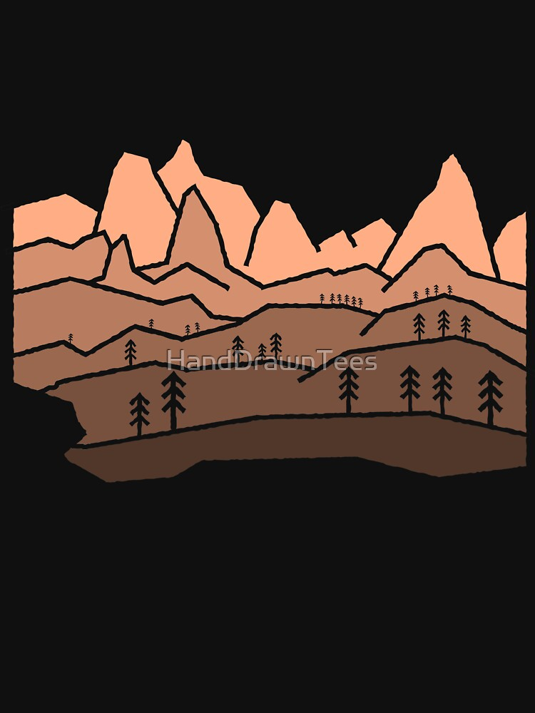 Mountain View Staggered Orange Red by HandDrawnTees