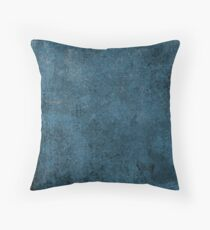Rustic Grunge Blue Leather Look Throw Pillow