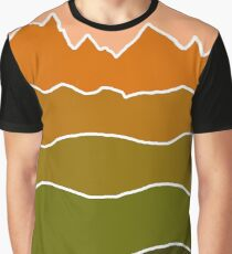 Landscape Staggered Green Orange Graphic T-Shirt