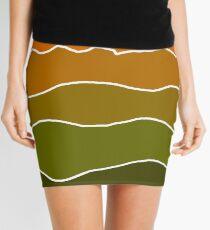 Landscape Staggered Green Orange Mini Skirt