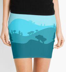 Landscape Blended Blue Mini Skirt