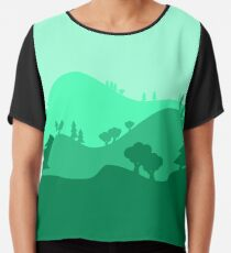 Landscape Blended Green Chiffon Top