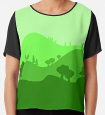 Landscape Blended Green 2 Chiffon Top