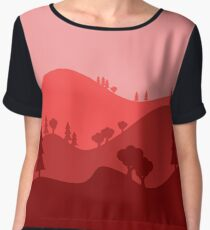 Landscape Blended Red Chiffon Top