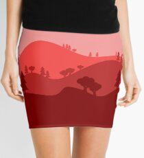 Landscape Blended Red Mini Skirt