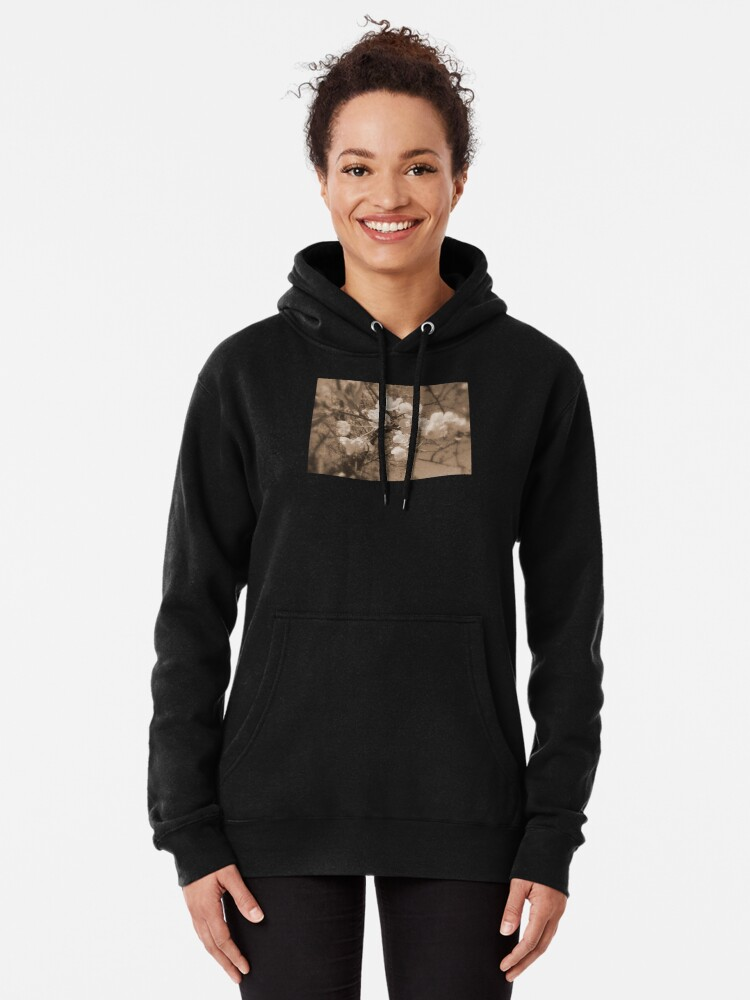 Alternate view of cherry blossoms in the sky, sepia Pullover Hoodie