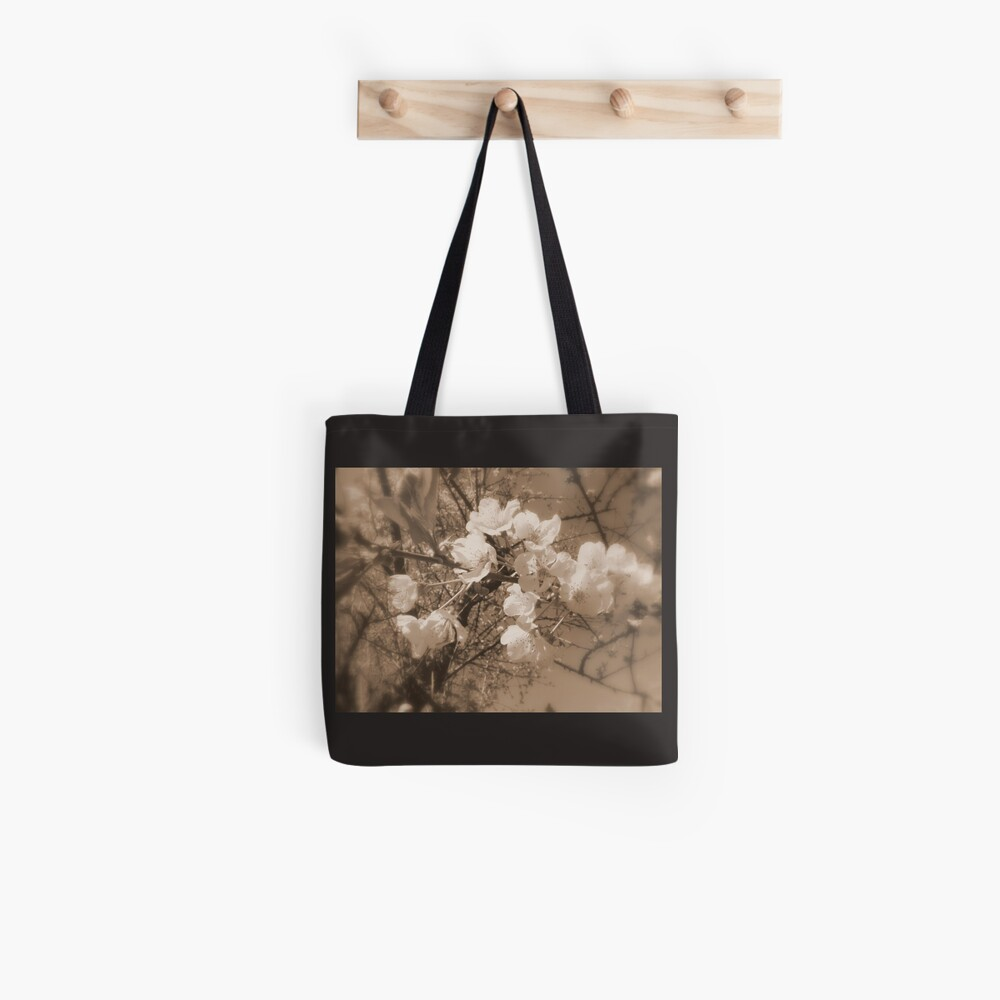 cherry blossoms in the sky, sepia Tote Bag