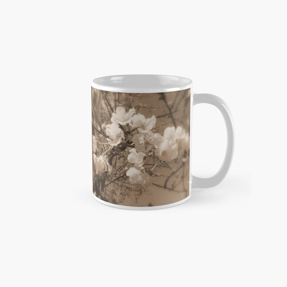 cherry blossoms in the sky, sepia Mug